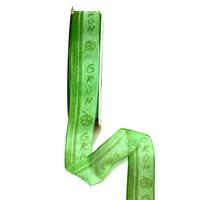 """Band leicht transparent m. Schrift """"grün"""", 25mm/ 25 Meter !!!"""