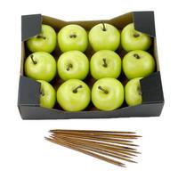 12x Deko Äpfel in grün, 5,5cm mit Holzstäbe in, Pappbox,  künstlich !!!