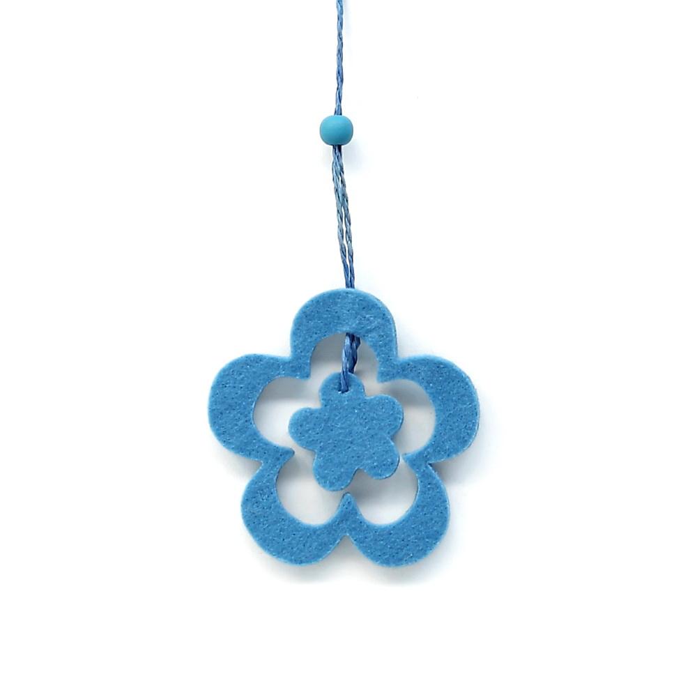 12 x Filz-Blüten Hänger offen, 2teilig blau, Länge ca 18cm/ RESTPOSTEN