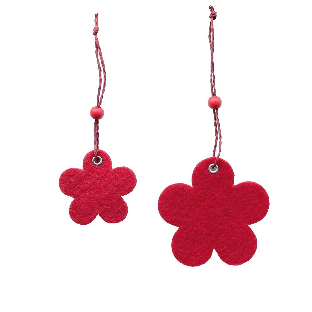11 x Filz - Blüten Hänger, 2 Größen, rot, 8cm u. 5,5cm / RESTPOSTEN !!