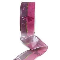 Band leicht transparent m. Blüten, Farbe erika 40mm 20m Kunstfaser