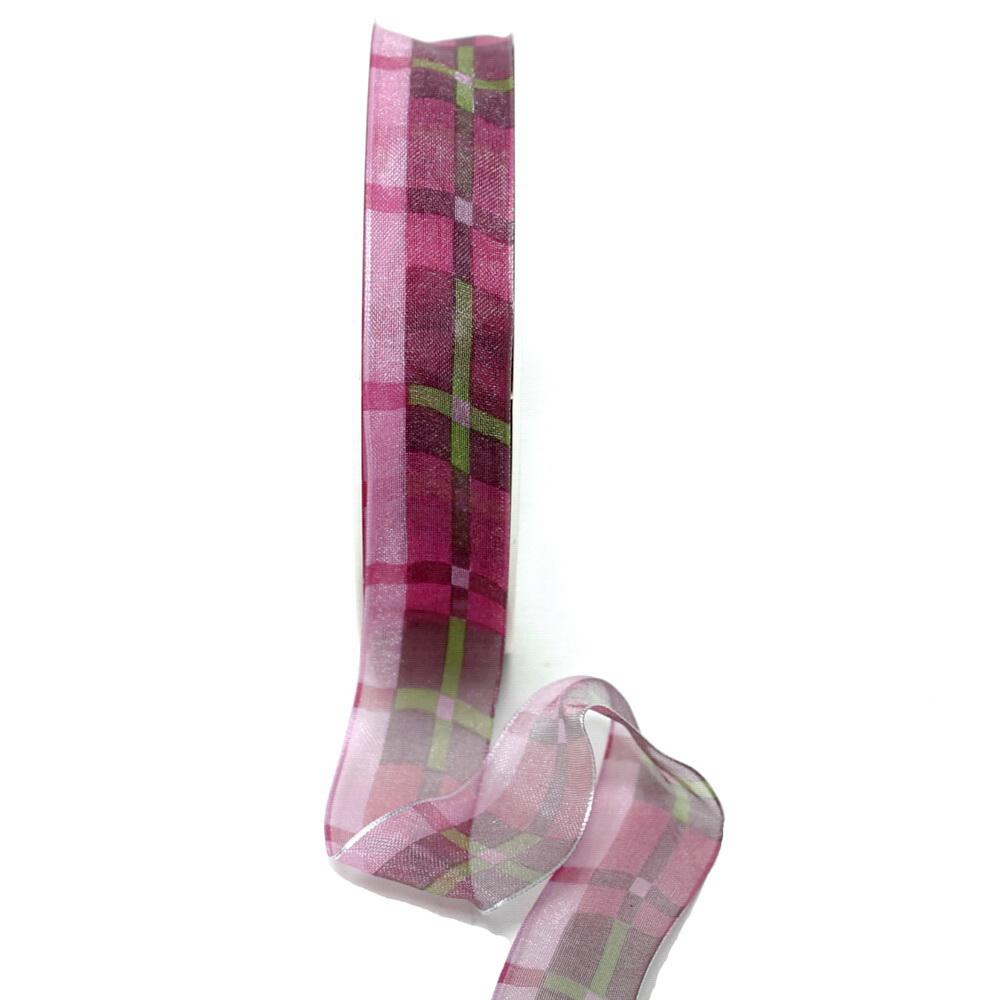 Band leicht transparent m. Streifen, Farbe erika 25mm/ 20m Kunstfaser
