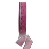 Band leicht transparent m. Blüten, Farbe erika 25mm/ 20m Kunstfaser