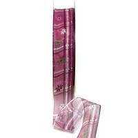 Band leicht transparent m. Blüten + Streifen erika 25mm/ 20m Kunstfaser