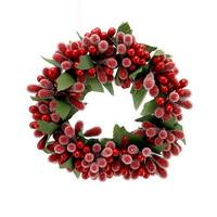 4x Beerenkranz 8cm rot-grün, beeist, einseitig, künstlich, Kerzenkranz !!!