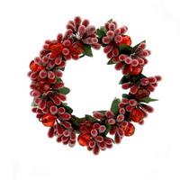 4x Beerenkranz mit Perlen 9cm rot-grün beeist, einseitig, künstlich, Kerzenkranz