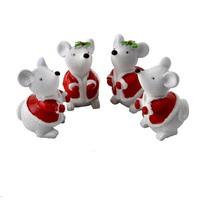 6x Maus mit Mantel 2fach 4cm, grau/rot/weiß, Polyresin, Weihnachten !!!