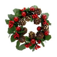 4x Beerenkranz mit Zapfen 12cm rot-grün, einseitig, künstlich, Kerzenkranz