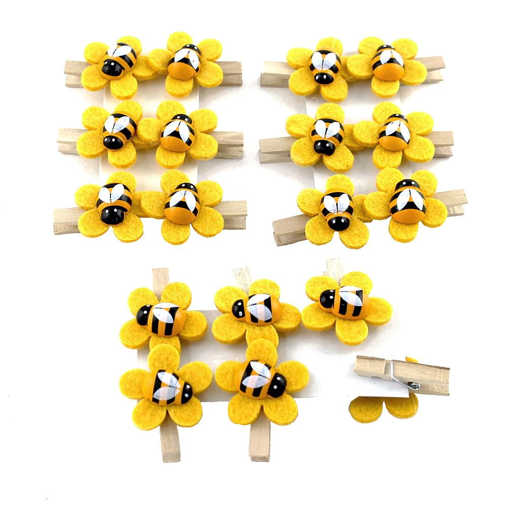 """18x Biene """"Sumsi"""" auf Filzblüte in gelb mit Holzklammer, Ø 3,5cm Blüte"""