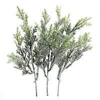 3x Koniferen Zweig m. Glitter, Kunststoff grün 25cm komplett künstlich