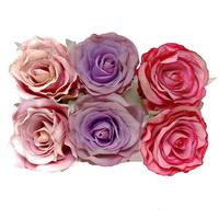 6 St. Rosenköpfe 7,5cm, altrosa/pink/violett (Farbmix) /TOP Qualität