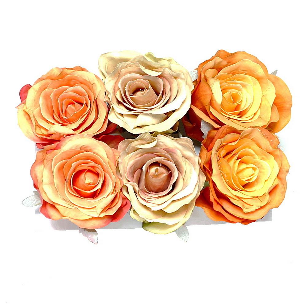 6 St. Rosenköpfe 7,5cm, gelb/h.-orange/orange (Farbmix) /TOP Qualität