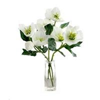 3x Christrosen Zweige weiß, je 2Bl. 1Kn. L 32cm Helleborus, Schneerose