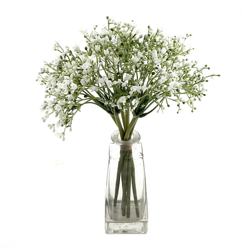 Schleierkraut Zweige weiß, 6 gebündelt, 28cm, Kunststoff/ TOP Qualität
