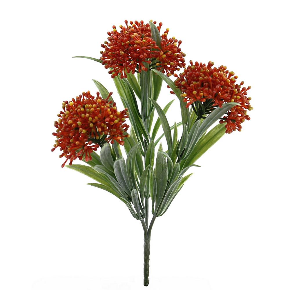 3x Herbstbusch mit je 3 Triebe L12/20cm, Kunststoff wetterfest/ orange
