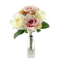 Rosenbund x5 Seide, einzelne Rosen, D 8cm, L 30cm/  11 creme/rosa !!!