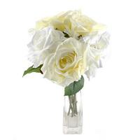 Rosenbund x5 Seide, einzelne Rosen, D 8cm, L 30cm/  83 weiß/creme !!!