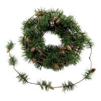 Lärchen Zapfen Girlande grün/braun, 5,4 Meter mit Draht, kurze Nadeln