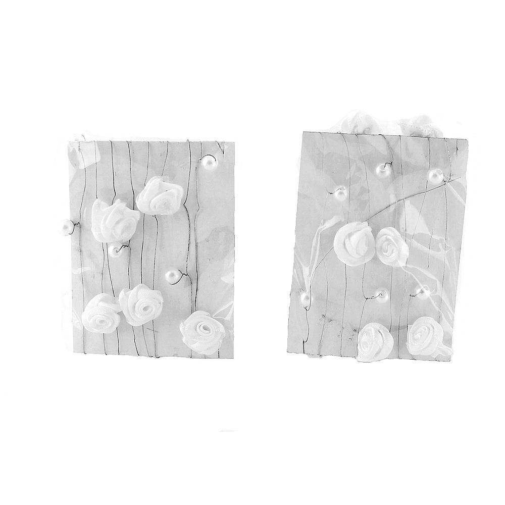 Rosen- Perlen- Girlande, 2 x 1,2 Meter weiß, Diorrosen, Draht Kette !!