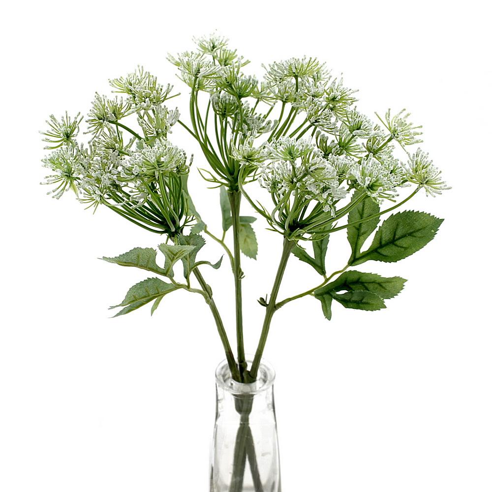 3x Dill-Pick, Zweige mit 1 Dolde L= 33cm Kräuter Kunststoff/ grün/weiß