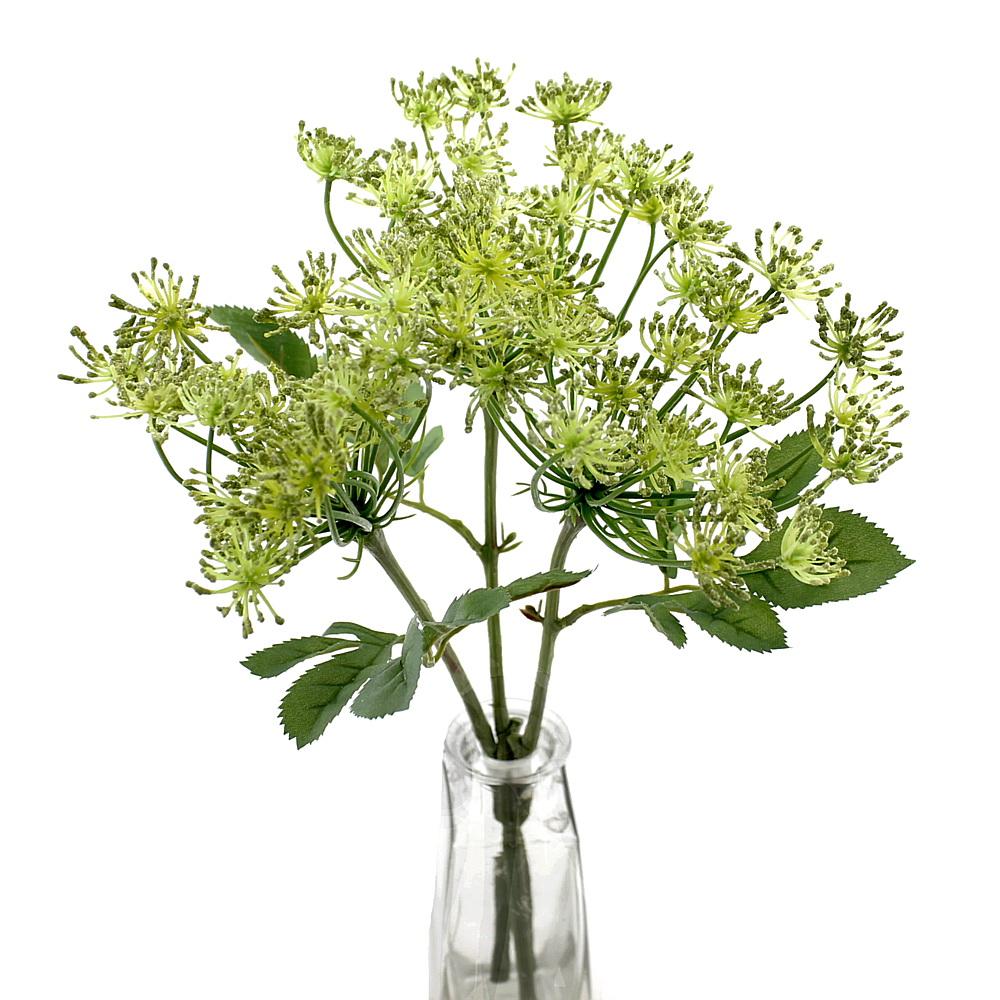 3x Dill-Pick, Zweige mit 1 Dolde, L= 33cm, Kräuter, Kunststoff / grün
