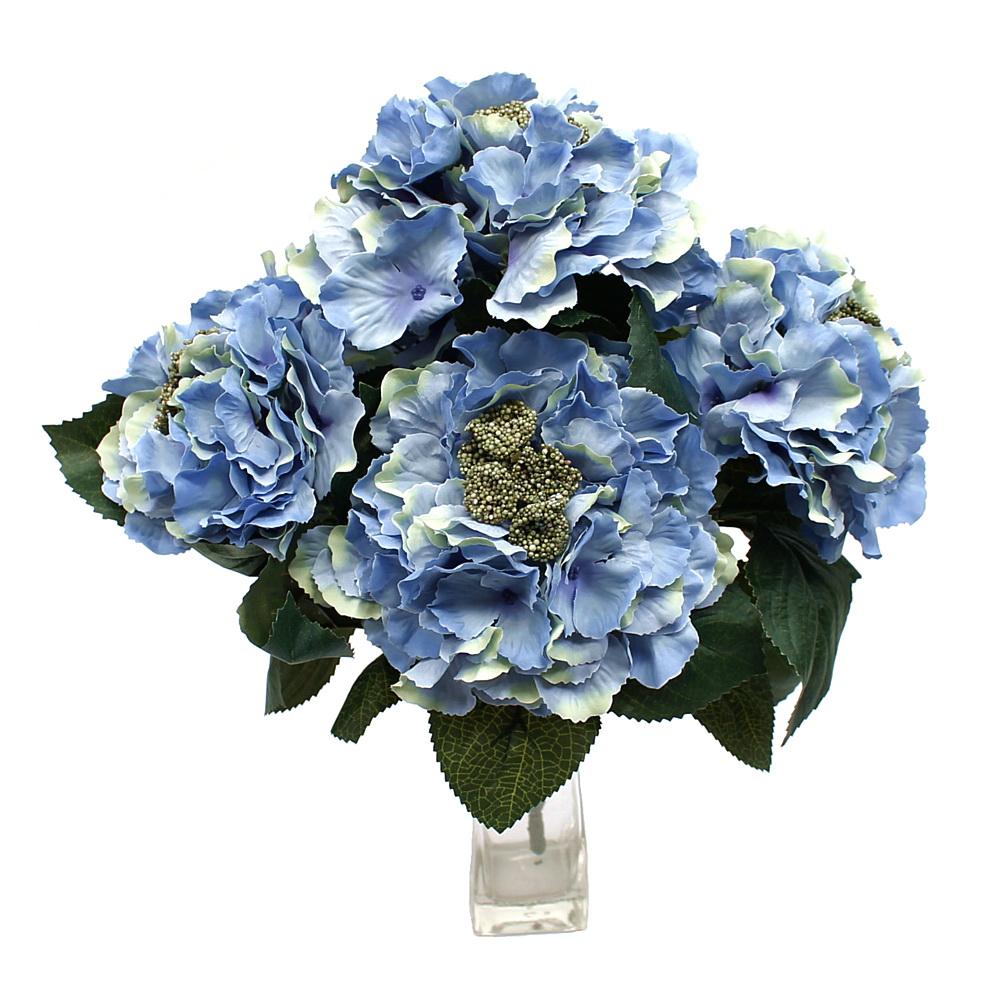 Hortensien- Busch x5 Dolden, 30cm x H40cm, künstlich !!! 03 h.-blau