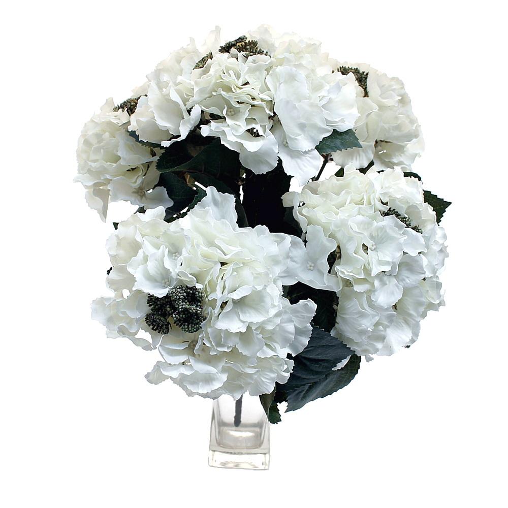 Hortensien- Busch x5 Dolden, 30cm x H40cm, künstlich / 15 weiß