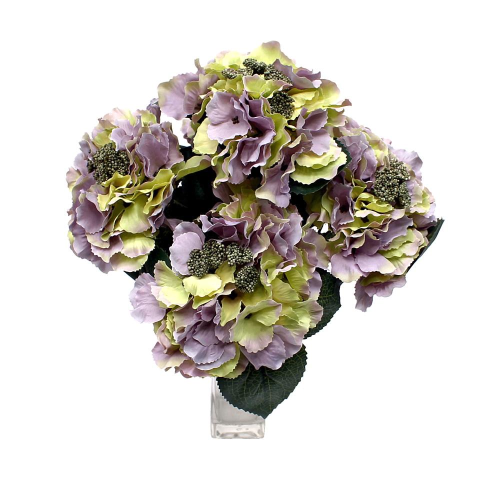 Hortensien- Busch x5 Dolden, 30cm x H40cm, künstlich !!! 18 h.-grün/violett