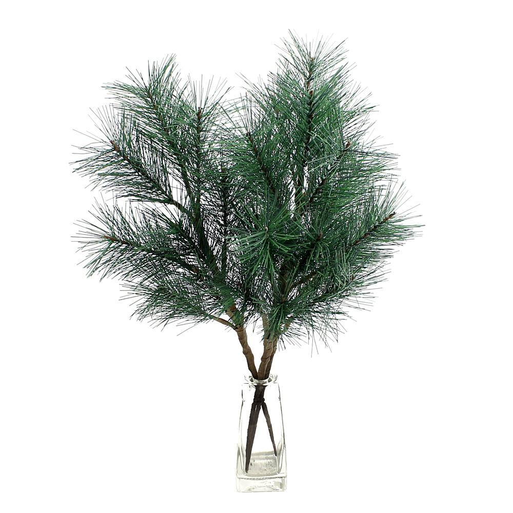 3x Kiefernzweige d.-grün, 9 Triebe, L 30/50cm, Kunststoff, outdoor !!!