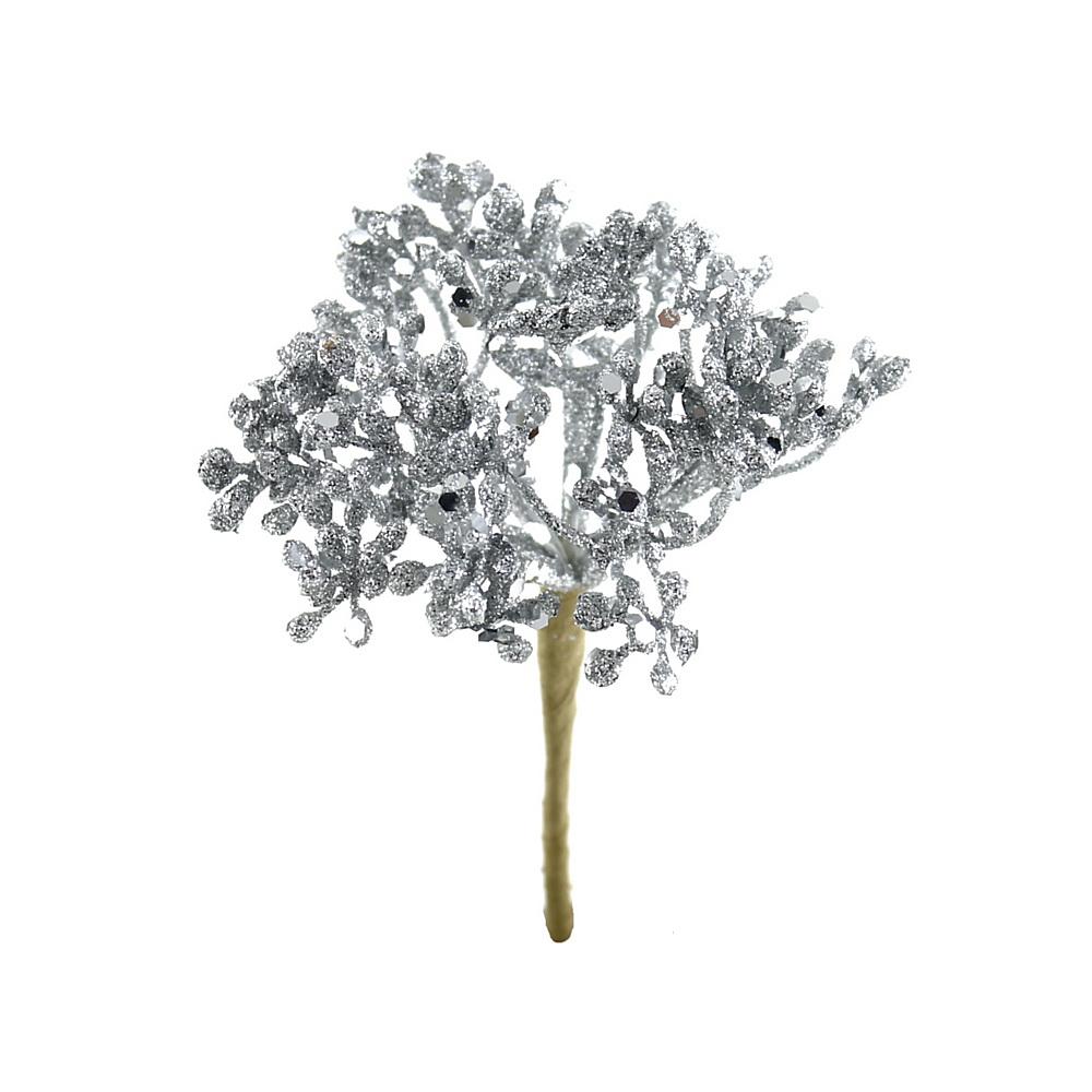 6x Glitter Doldenpick mit je 6 Triebe, Länge 5/13cm Kunststoff/ silber