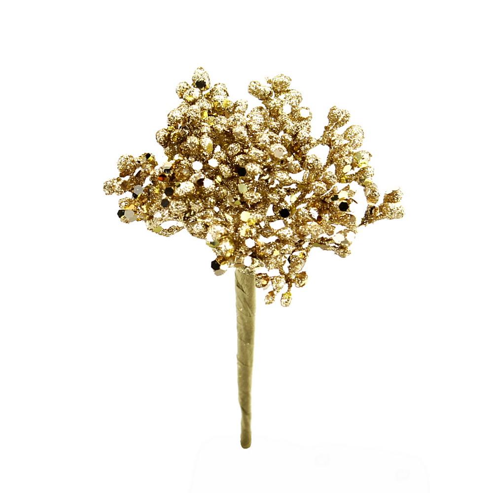 6x Glitter Doldenpick mit je 6 Triebe, Länge 5/13cm, Kunststoff / gold