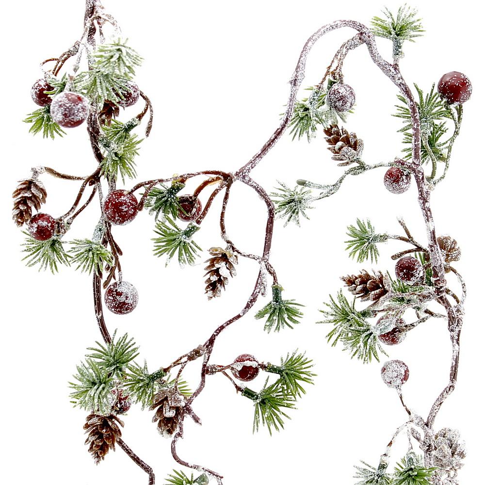 Zederngirlande mit Zapfen u. roten Beeren beeist, 1,30 Meter künstlich