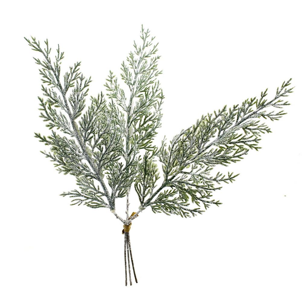 3x Wacholder Zweig m. Glitter, Kunststoff grün 33cm komplett künstlich