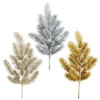 Tannenzweig farbig m. Glitter, 18 Spitzen, L 50/35cm, Tanne, künstlich
