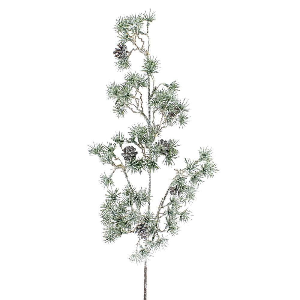 Lärchenzweig mit Zapfen beeist 46cm dekorativer Einzelzweig, künstlich