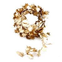 Ilex Blätter Girlande gold, 2,75 Meter mit Draht, künstlich !!!