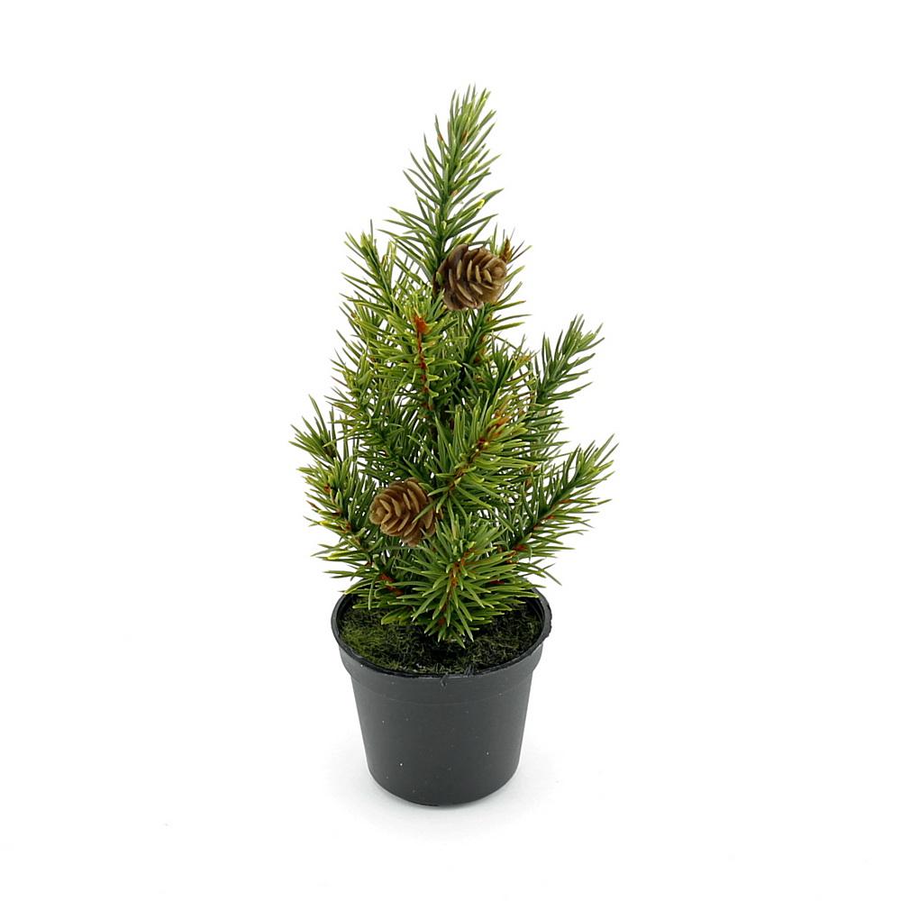Mini Tannenbaum mit Zapfen im Plastiktopf 20cm, Tanne, Kunststoff Baum