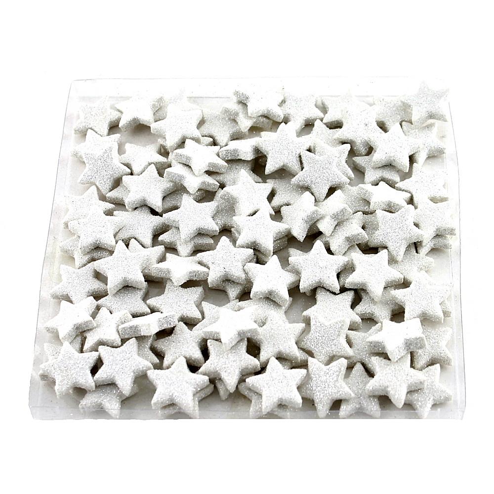 100x Sternstreuer beglittert 2,5cm, Box, Stern, Streuer / 01 weiß