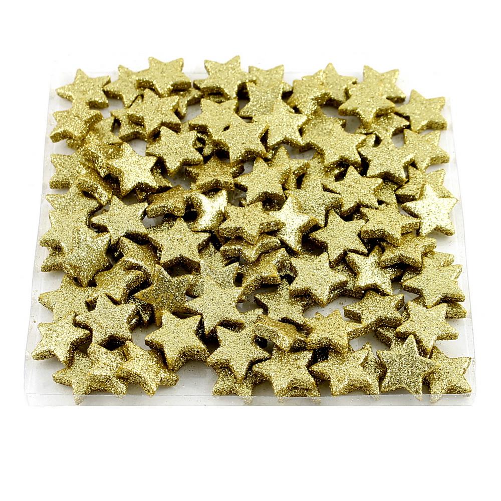 100x Sternstreuer beglittert 2,5cm, Box, Stern, Streuer !!! 92 gold