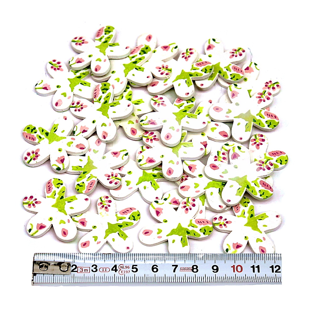 24 St. Holz- Streublüten mit Muster, weiß/grün/rosa 3,5cm, NICE PRICE
