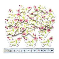 24 St. Holz- Streu- Schmetterlinge mit Muster, weiß/grün/rosa 4,5cm