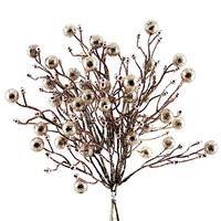 Glitter- Beeren- Bund mit 3 Picks, Länge 33cm Kunststoff / champagner