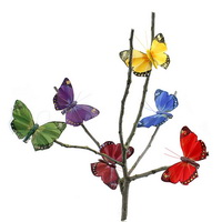 6 Stück Schmetterlinge 8cm mit Clip, Sortiment bunt, Feder ***