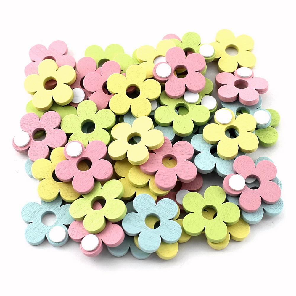 48x Streuartikel + Klebepunkt, Holz 3,5cm / bunt pastell Blumen