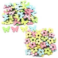48x Streuartikel + Klebepunkt, Blumen / Schmetterlinge Holz 3,5cm/ bunt pastell