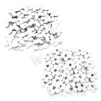 48x Streuartikel + Klebepunkt Blumen / Schmetterlinge Holz 3,5cm, weiß