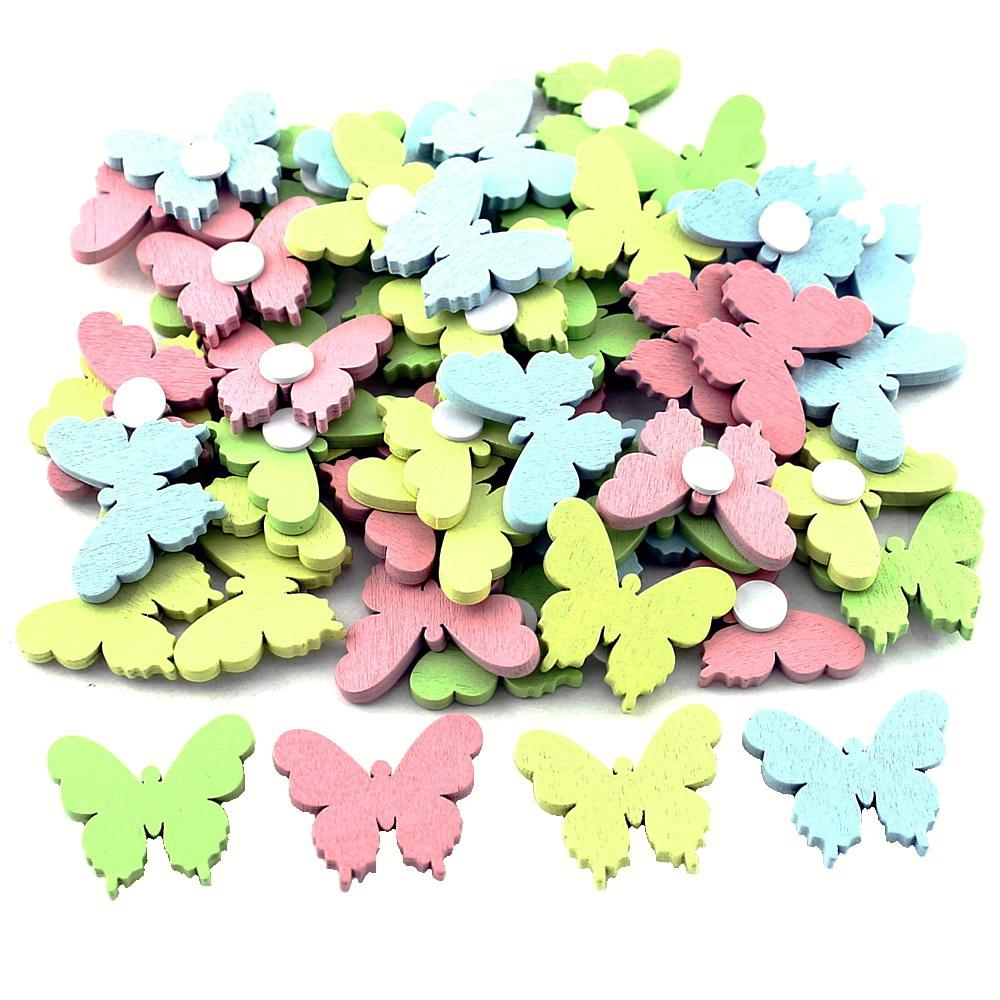 48x Streuartikel + Klebepunkt, Holz 3,5cm/ bunt pastell Schmetterlinge
