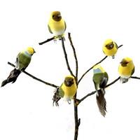 6 Stück Deko- Vögel mit Clip, Samtkörper m. Federn, gelb/grün/natur !!!