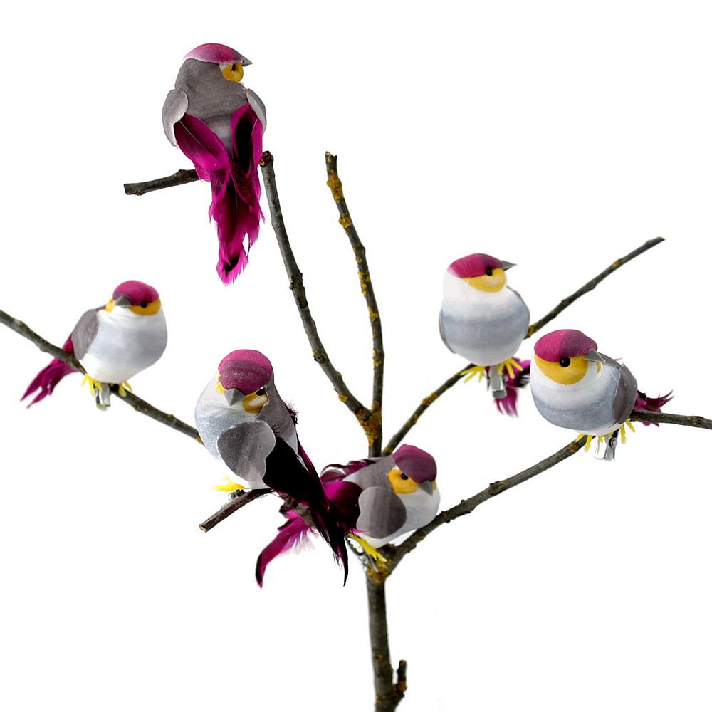 6 Stück Deko- Vögel mit Clip, Samtkörper m. Federn, grau/gelb/pink !!!