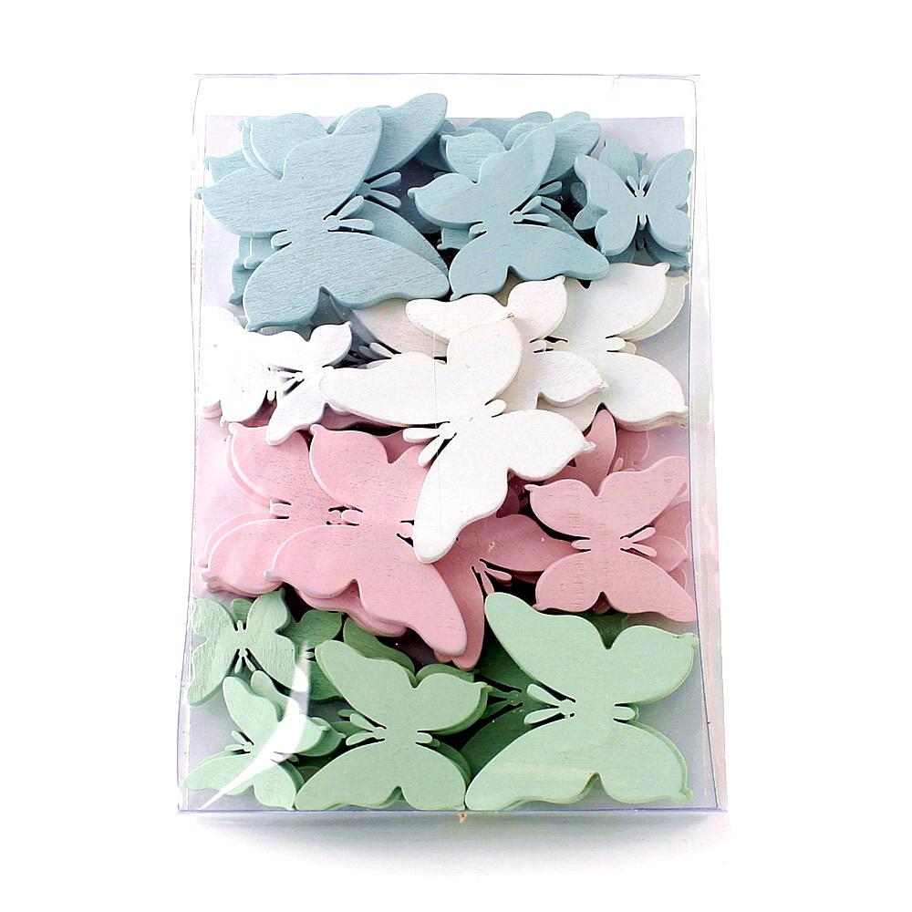 48x Schmetterlinge Holz flach 5,5-3cm Farben in Klarsichtbox !! div
